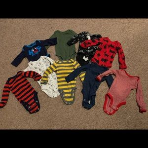 Carters long sleeve onesie lot of 9 newborn